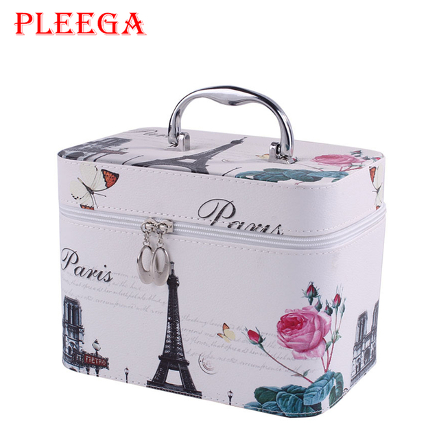 PLEEGA Brand Portable Women Cosmetic Bag Designer Cartoon Travel Leather Women PU Cosmetic Bags Cosmetic Box Jewelry Organizer