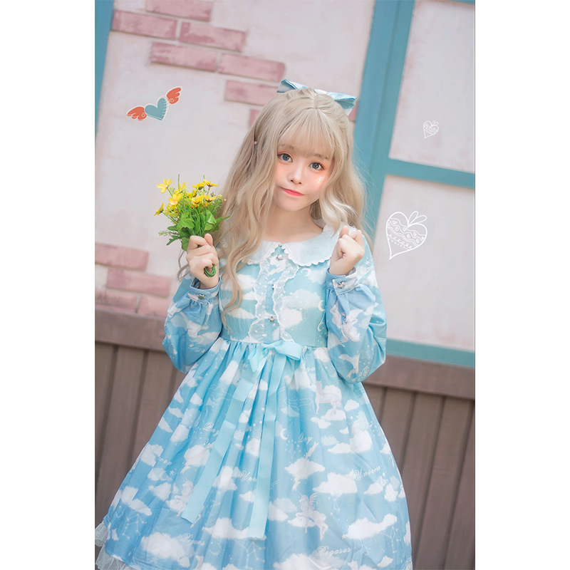 Ukraine Rushed Dress Women 2019 New Originally Designed Lolita Cloud Sea Song Op Little Gradual Unicorn Printed Dresses Women's image