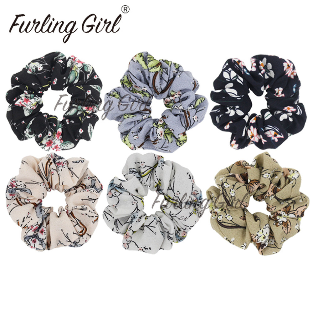 Furling girl 1 pc chiffon flower hair scrunchies for women hair furling girl 1 pc chiffon flower hair scrunchies for women hair accessories jasmine flower print hair ties ponytail holder in hair accessories from womens izmirmasajfo