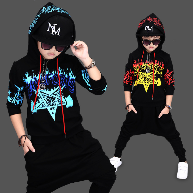 Autumn Boys Clothes Sport Suits For A Boy Children's Set Hip Hop Dancing 2Pieces Suit Sets Hoodie + Pants Children Clothing i k boy vest suit breathable sport suit for boys 2017 summer new arrived children clothing two piece set comfortable suits a1082