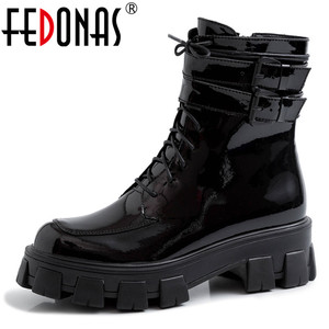 Image 1 - FEDONAS 2020 Winter Warm Punk Cow Patent Leather Women Ankle Boots Lace Up Buckle Short Boots Night Club Party Shoes Woman
