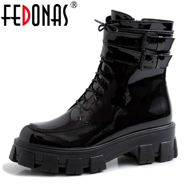 FEDONAS 2020 Winter Warm Punk Cow Patent Leather Women Ankle Boots Lace Up Buckle Short Boots Night Club Party Shoes Woman