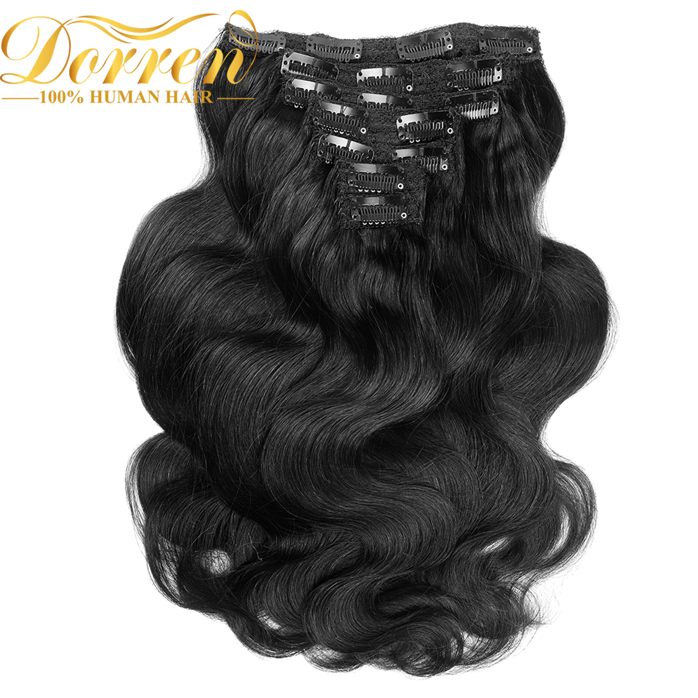 Clip-In Human-Hair-Extensions Body-Wave-Machine Doreen Brazilian-Clip Remy 200G -1b-4--8