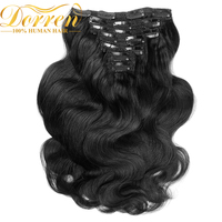 Dorren 200G Thicker Full Head Body Wavy Clip In Human Hair Extensions 16 26inch 10pcs Brazilian