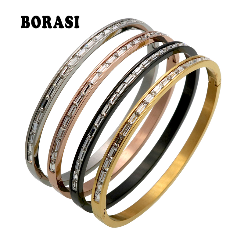 New 1 Rows Crystal Gold/Rose Gold/Silver Color Stainless Steel Bangle Cuff Love Bracelets & Bangles Women Open Wedding Jewelry gold open cuff bracelets for women bijoux jewelry