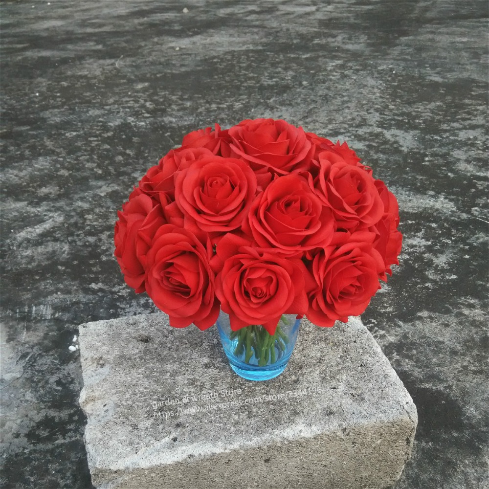 home & wedding centrepiece table flowerof 20 real touch red roses arrangement