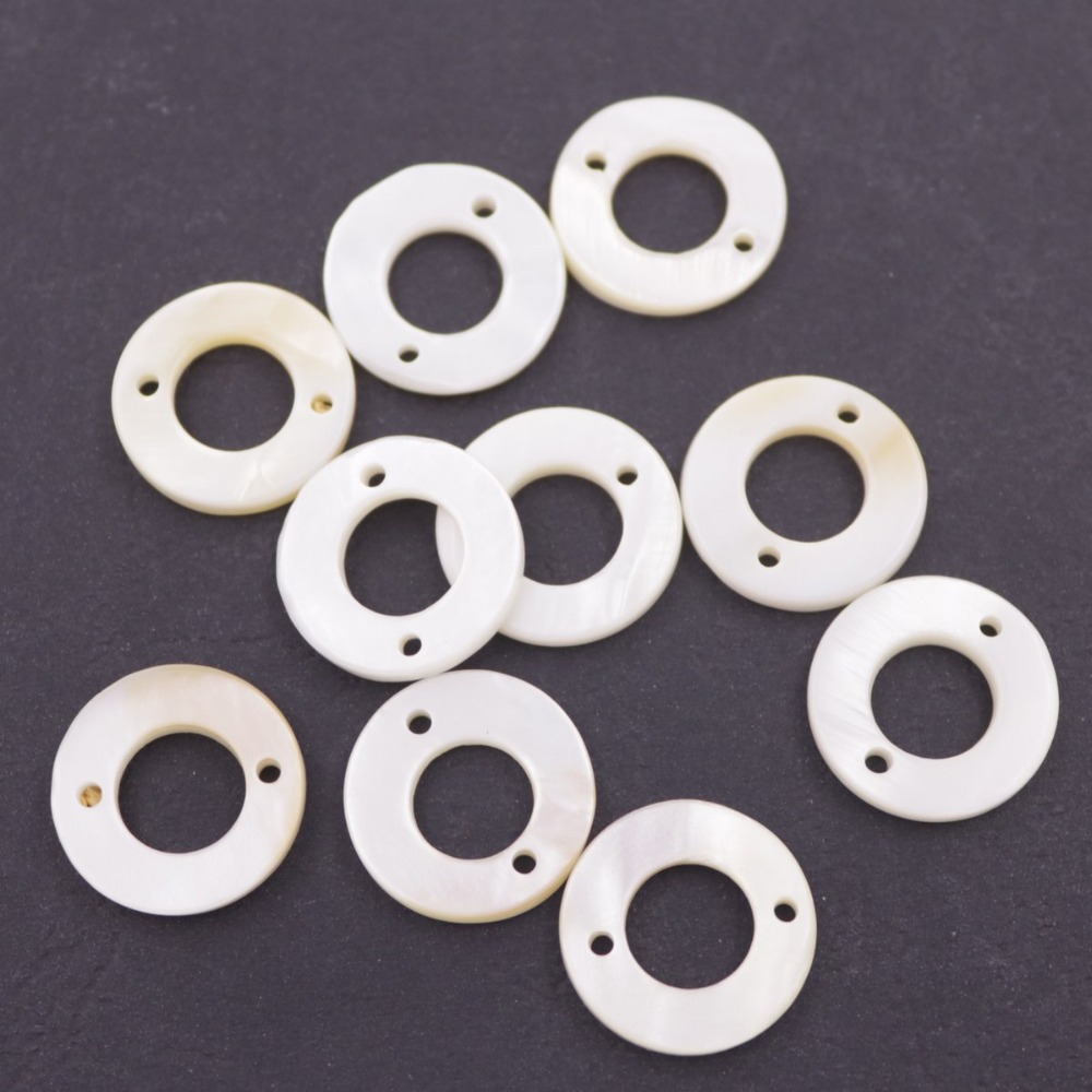 Купить с кэшбэком 10PCS 15mm Round Circle Shell Natural White Mother of Pearl Two Hole Loose Beads