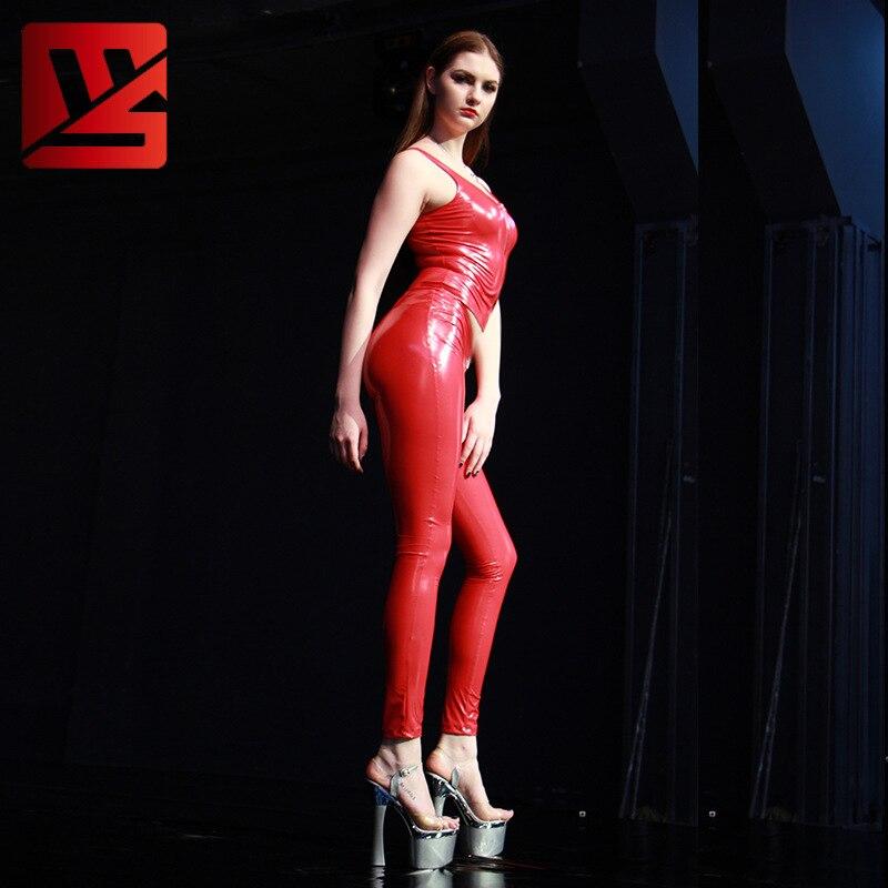 Sexy Women Plus Size PVC Shiny Zipper Open Crotch Pencil Pants Low Waist Leggings Casual Pants Capris Moto & Biker Stage Wear F5