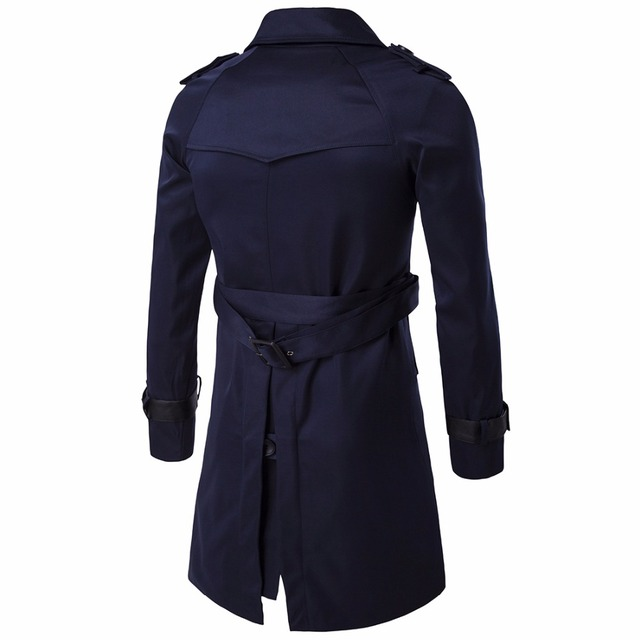 Men's casual windbreaker windbreaker warm business coat pure color lapel coat