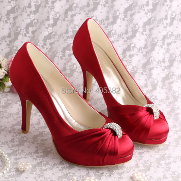 ФОТО Wedopus Customized Party Shoes High Heels Wedding Bridal Pumps Wine Red Satin