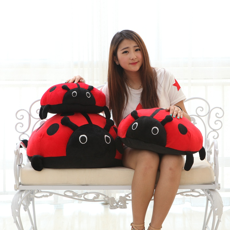 40/50cm Simulation Ladybug Plush Toy Stuffed Insect Ladybird Toys For Children Education Home Decoration Decent Bed Toy