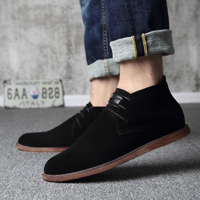 2018 erkek botları süet ayakkabı siyah Chelsea çizmeler dantel kadar elbise ayakkabı erkekler süet gerçek deri yarım çizmeler boyutu 39- 44 Martin çizmeler