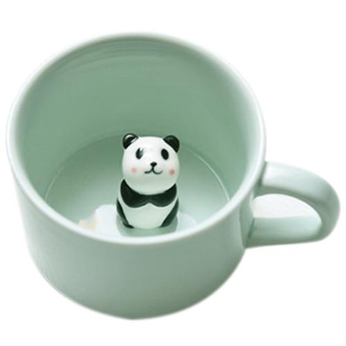 Creative Small Ceramic Milk Mug With Animals Cute Cartoon Three-dimensional Coffee Cup Heat-resistant Celadon Cup Panda
