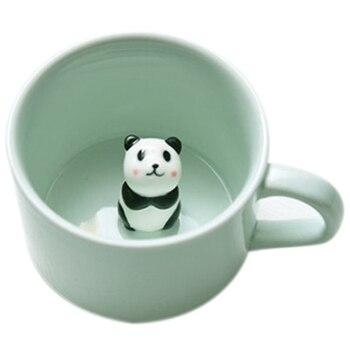 الإبداعية السيراميك حليب القدح مع الحيوانات لطيف الكرتون ثلاثي الأبعاد القهوة كوب مقاوم للحرارة سيلادون فنجان الباندا