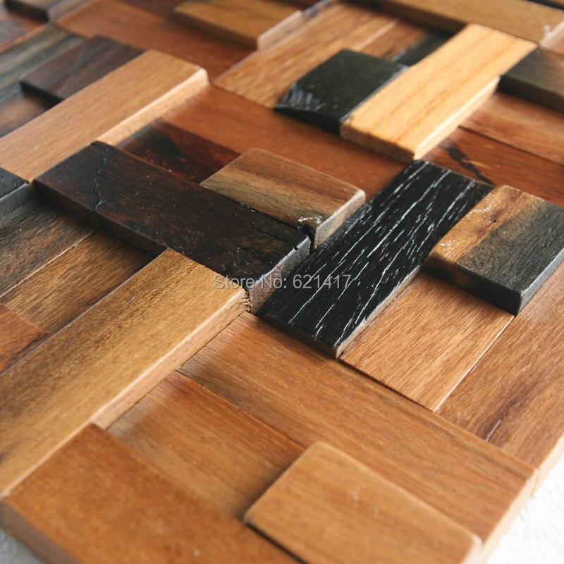 přírodní loď dřevo 3d starověký starý člun dřevěné mozaikové dlaždice nástěnné dekorace materiály HMWM1014 pro backsplash kuchyňskou zeď