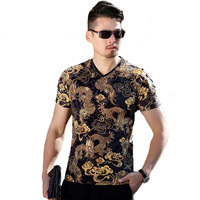 Men S Thin Section V Neck Business Casual T Shirt 2017 Summer Chinese Dragon Pattern Printing