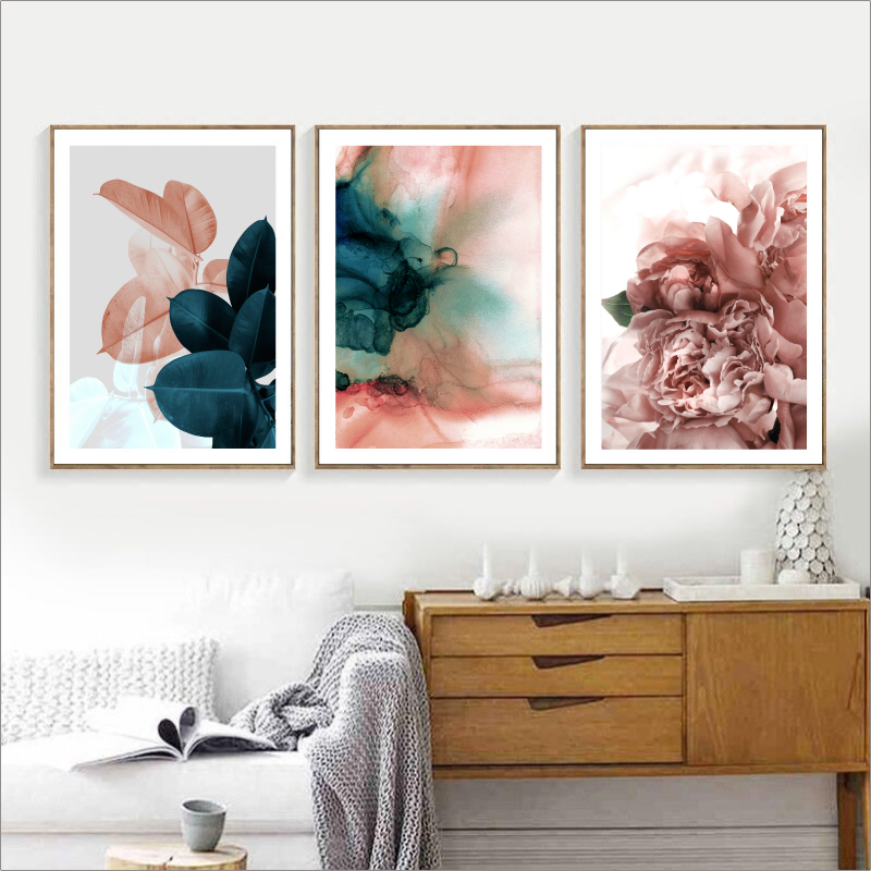 Modern Pink Flowers Green Plants Poster Print Canvas Painting Pictures Home Wall Art Decoration Wall Stickers Can Be Customized