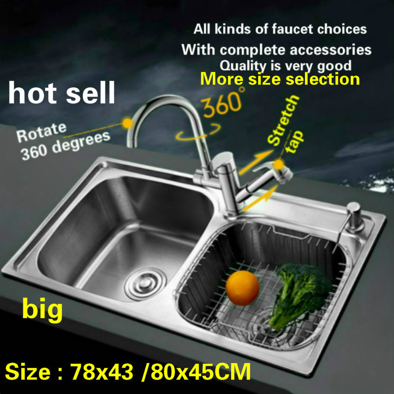 Free Shipping 304 Stainless Steel Double Groove Big Kitchen Sink Wiredrawing Wash Dishes 78x43 /80x45 CM