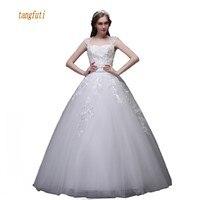 Princess Wedding Dresses Appliques Beads Sequins Floor Length Bridal Dress Lace Up Back Real Photos