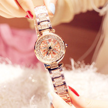 цена Fashion New Authentic Ladies Watch Rotating Quartz Waterproof Steel Belt Rhinestone Bracelet Trend Watch онлайн в 2017 году