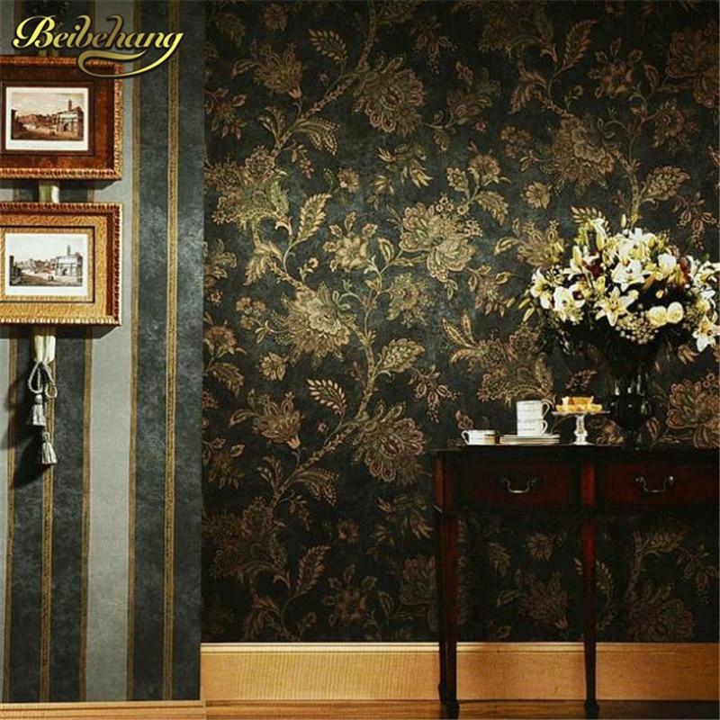 Beibehang rustique vintage papier peint en relief PVC papier peint rouleau TV fond papier peint noir floral papier peint pour salon
