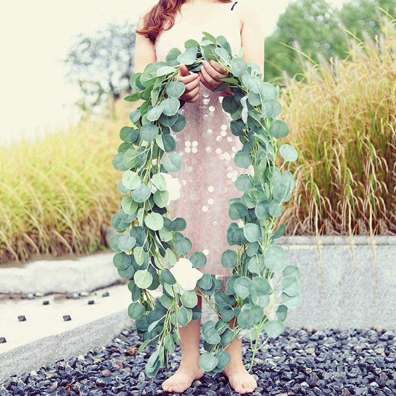 2m Artificial Silk Eucalyptus Vine Hanging Wicker Leaves Vine Decor Wedding Party Simulation Wall Hanging Plant Leaves String