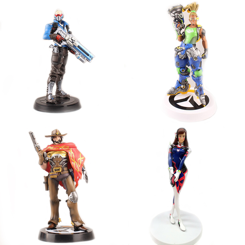 все цены на  SAINTGI OW Tracer D.Va DJ Widowmaker Jesse Mccree Reaper WINSTON SOLDIER 76 Action Figure Model kids Toys Tracer PVC 25CM Genji  в интернете