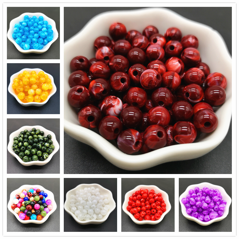 6 8 10 mm Imitation Natural Stone Round Acrylic Beads Clouds Effect Beads For Jewelry Makeing Bracelet necklace DIY Accessory(China)