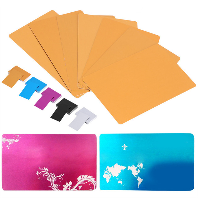 50pcs 5 colors impressive blanks business cards laser mark engraved 50pcs 5 colors impressive blanks business cards laser mark engraved metal smooth business visiting name cards reheart Image collections