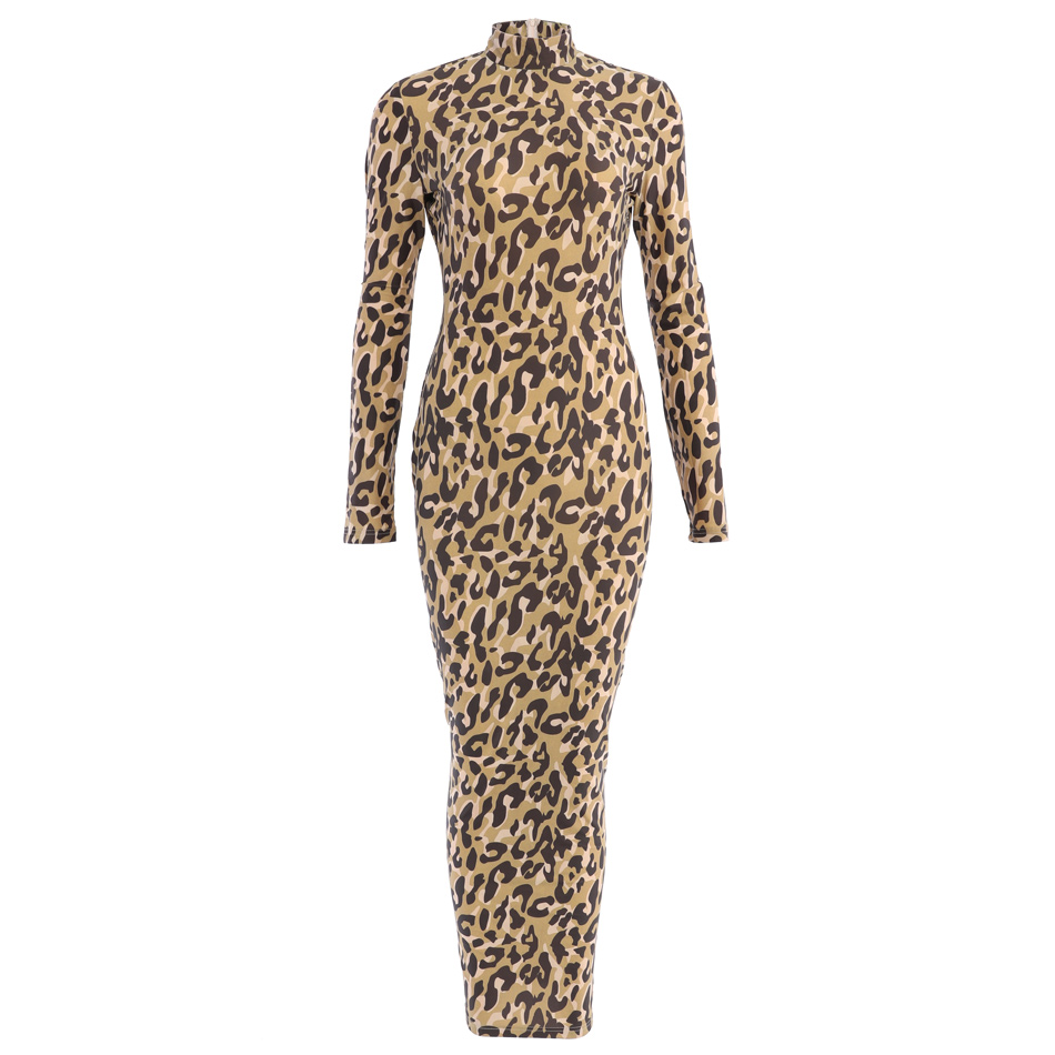 7b169d65 Hot Saling Leopard Long Sleeve Mock Neck Colorblock Back Slit Maxi Bodycon  Party Dress-in Dresses from Women's Clothing on Aliexpress.com | Alibaba  Group