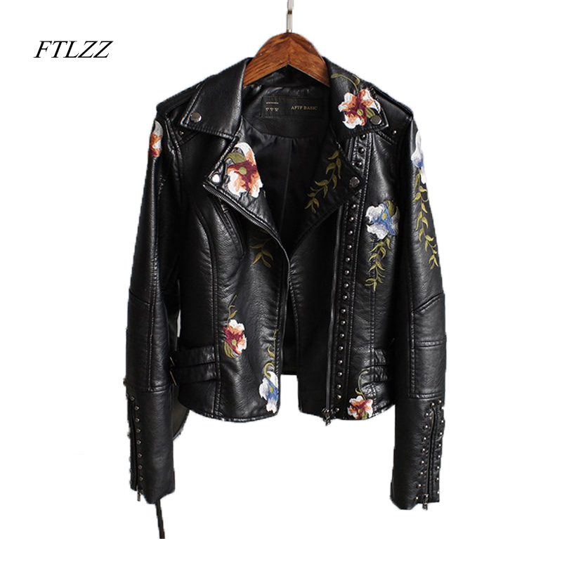 Ftlzz Women Floral Print Embroidery Faux Soft Leather Jacket Coat Turn down Collar Casual Pu Motorcycle