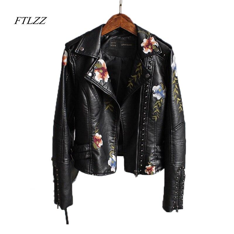 Ftlzz Femmes Imprimé floral Broderie Faux Cuir Souple Veste Manteau Turn-down Collar Casual Pu Moto Noir Punk Survêtement