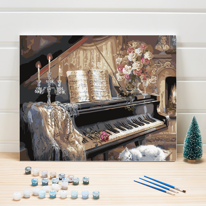 Paint Pictures By Numbers Piano Classical European Acrylics On Canvas Hand Painted Oil Paintings Creative Coloring Digital Arts