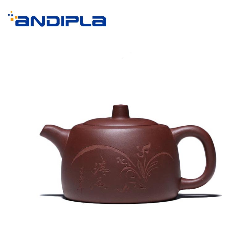 240ml Yixing Purple Clay Teapot Engraving Purple Mud Zisha Pot Vintage Tea Kettle Pots Drinkware Decoration for Creative Gifts