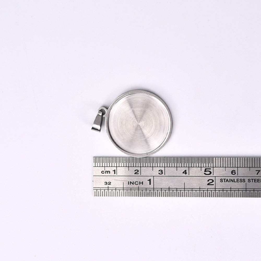 Stainless Steel Pendant Cabochon Setting with Pinch Bail Flat Round 25mm Bezel (4)
