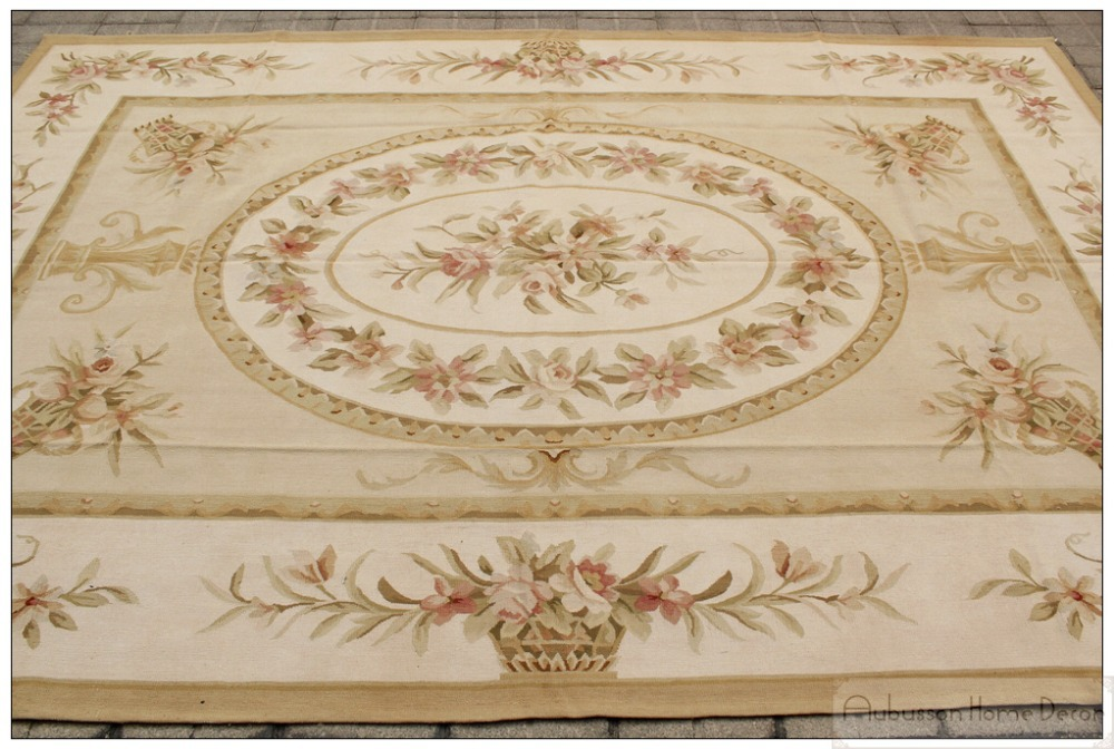 2x3m wool hand woven shabby chic french style aubusson area rug carpet yellow ivory in rug from. Black Bedroom Furniture Sets. Home Design Ideas