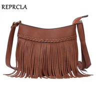 Brand Designer Tassel Women Bags High Quality Vintage Shoulder Bag Crossbody PU Leather Handbag Women Messenger