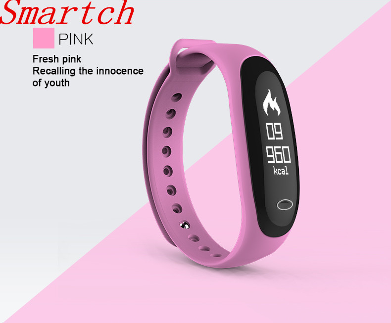 Smartch Smart Bracelet E26 Heart Rate Blood Pressure Monitor for IOS Android Fitness Tracker Pedometer Sleep