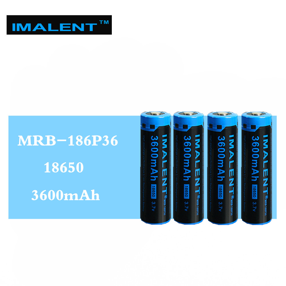 4pcs IMALENT 3600mah MRB 186P36 3.7v li ion rechargeable battery high performance high quality for high drain LED flashlights-in Rechargeable Batteries from Consumer Electronics    1