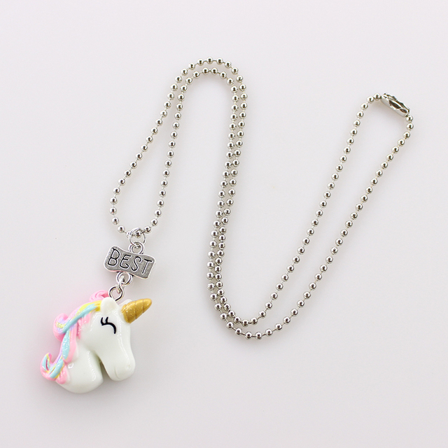 2Pcs/Set Unicorn Pendant Necklaces Chain For Children