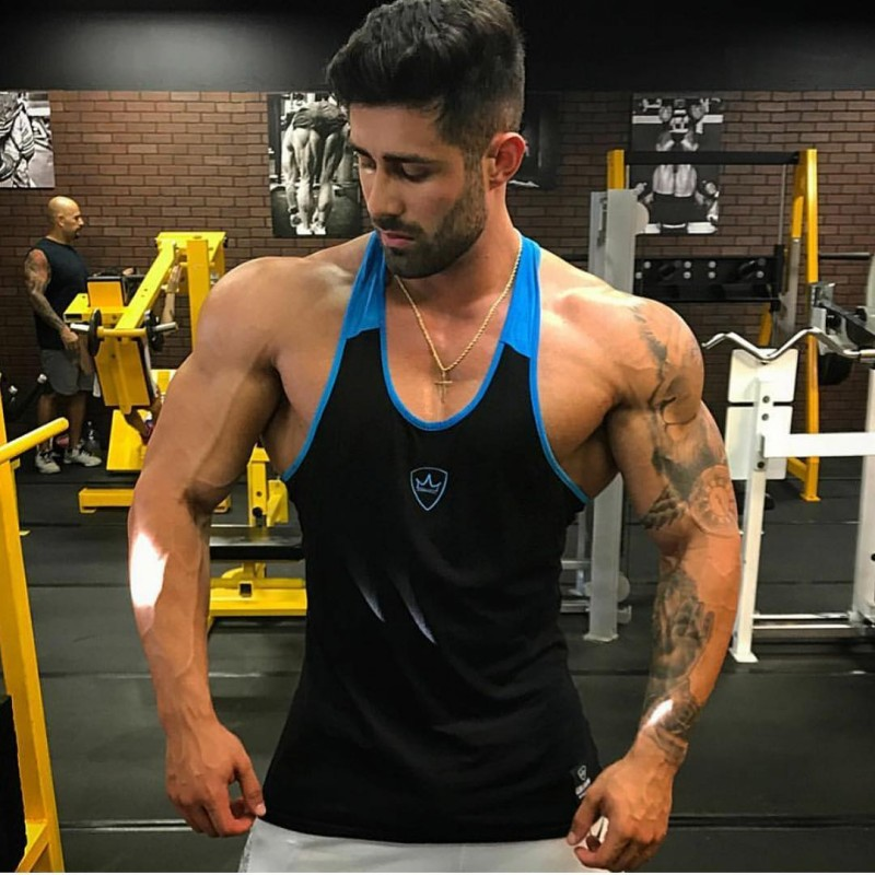 Men Bodybuilding Patchwork   Tank     top   Gyms Fitness Workout Cotton Sling vest Casual Fashion Sleeveless shirt Undershirt clothing