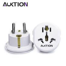 Auktion 5 Pcs/lot 16A Universal Uni Eropa (Eropa) converter Adaptor 250V AC Travel Charger Dinding Power Plug Socket Adaptor untuk US UK AU(China)