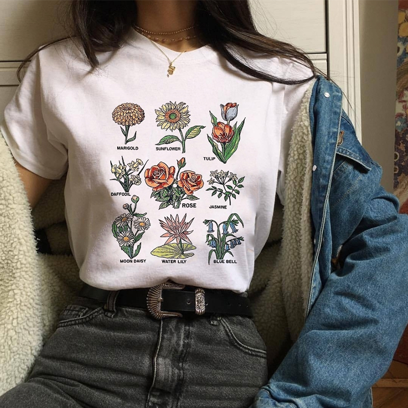 2019 Wildflower Graphic Floral Print Vogue Streetwear Blouses Sunshine Plant 90s White Top Shirt Short Sleeve Blusa Mujer Blouse