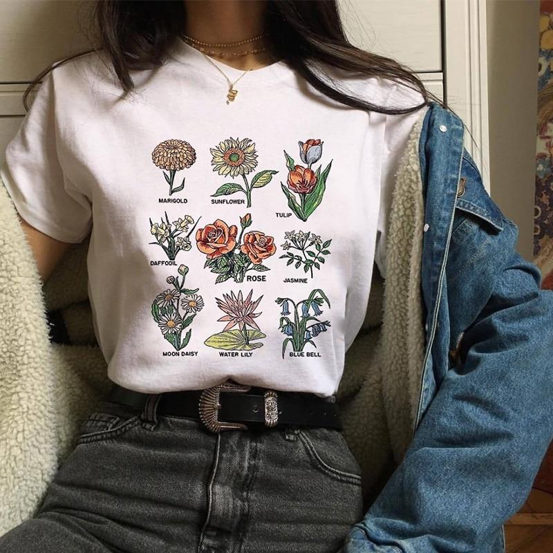 2019 fleurs sauvages graphique imprimé Floral Vogue Streetwear Blouses Sunshine Plant 90 s haut blanc chemise manches courtes Blusa Mujer Blouse