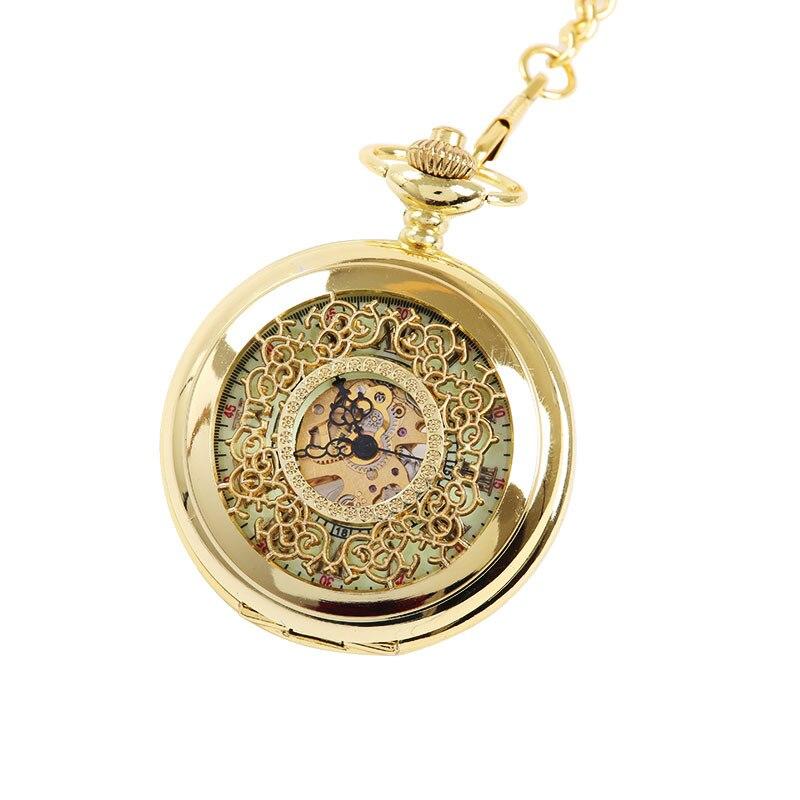 8935   Large Gold Thick Chain Dense Flower Hollow Night Light Pocket Watch Ancient Roman Text Mechanical Pocket Watch 8931