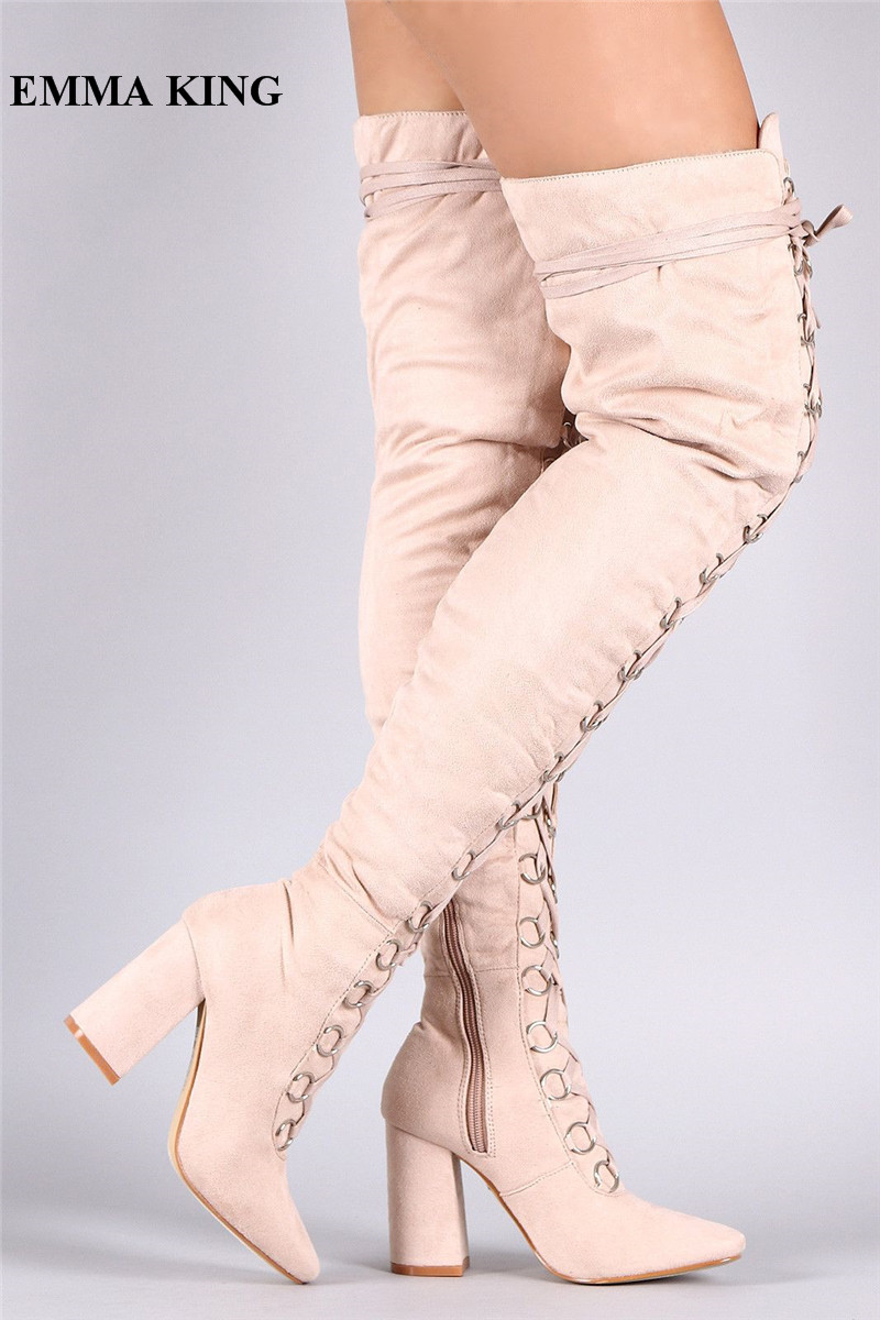 EMMA KING Rome Cross-tied Winter Long Boots Women Lace Up Cut-out Pointy Toe Thick Chunky Heels Gladiator Over The Knee BootsEMMA KING Rome Cross-tied Winter Long Boots Women Lace Up Cut-out Pointy Toe Thick Chunky Heels Gladiator Over The Knee Boots