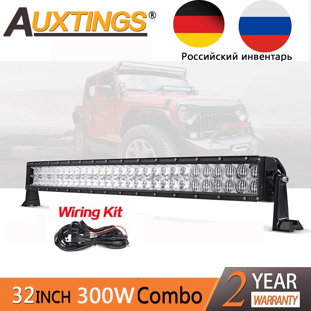 Auxtings 5D 32'' 300W high power straight led work light bar 4x4 offroad waterproof CE car straight LED light bar 32 inch 12V майка print bar straight outta 221b