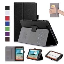 Book Flip Cover PU Leather Case for LG Gpad 3 III 8.0 V525 V521 V520 V522 Tablet with Card Slots Hand Strap + Free Gift