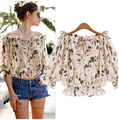 2016 Summer Women Casual Chiffon Print Blouses Plus Size Shirts Fashion Tropical Cropped Tops Camisas Blusas Roupas Femininas