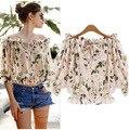 2016 mujeres del verano de la gasa ocasional imprimir Blusas tallas grandes Camisas moda Tropical recortada Tops Camisas Blusas Roupas Femininas